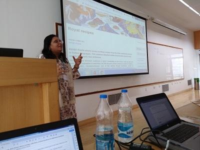 Maya Dodd speaking during her presentation