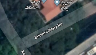A screenshot of Google Maps centred on British Library Road, Bangalore