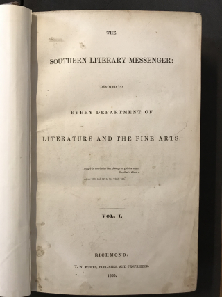 Photograph of the title page of The Southern Literary Messenger
