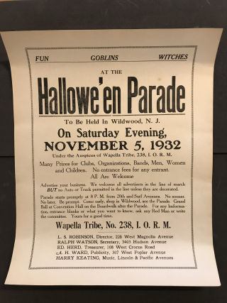 Photograph of broadside for Hallowe'en Parade