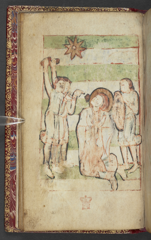 A damaged miniature of the Lapidation of St Stephen