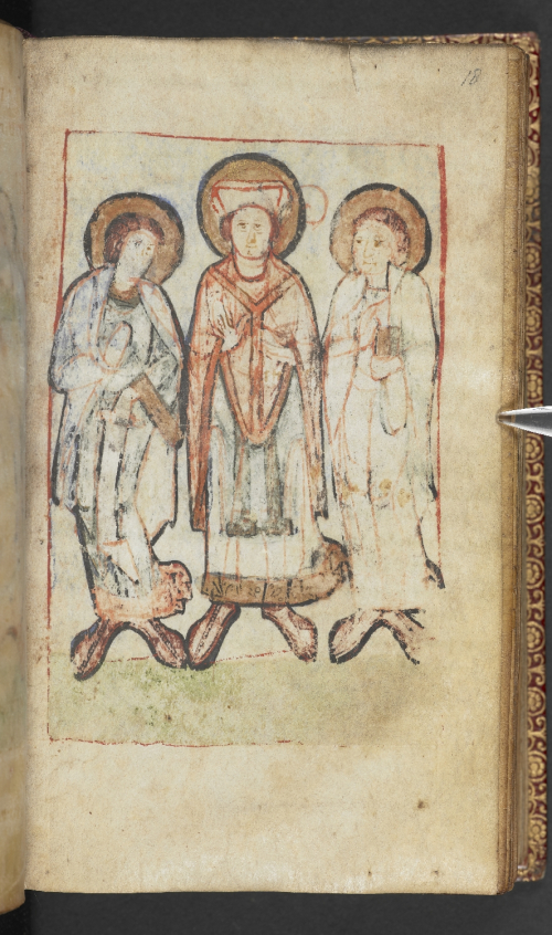 A damaged miniature of a three saints including an archbishop