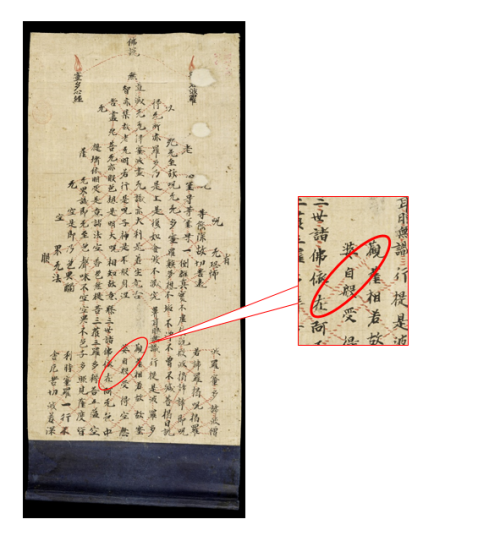 Detail of the name of Bodhisattva Guanzizai in the Heart Sutra
