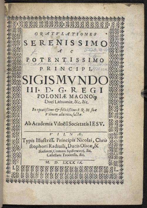 Title page of Gratulationes Serenissimo ac Potentissimo Principi Sigismundo III…