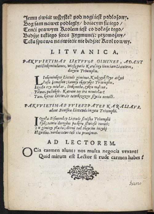 Lithuanian text in Gratulationes Serenissimo ac Potentissimo Principi Sigismundo III…
