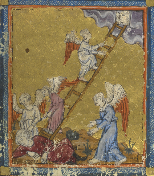 Jacob's ladder. Golden Haggadah. Spain, 14th century. Add_ms_27210_f004v det