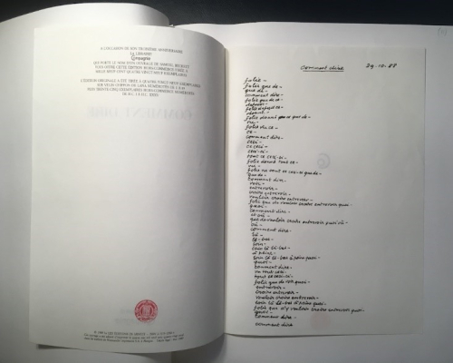 Photograph of poem from Comment Dire