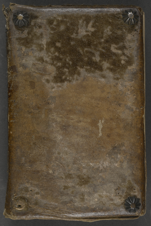 Upper cover of a binding in dark brown leather with a patch of darker brown fur still visible in the upper third, and with three small metal bosses in the two upper and the lower right corner.