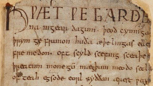 The opening words of the Beowulf manuscript