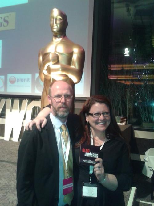 A photo of Julian and Sarah at the Blog Awards