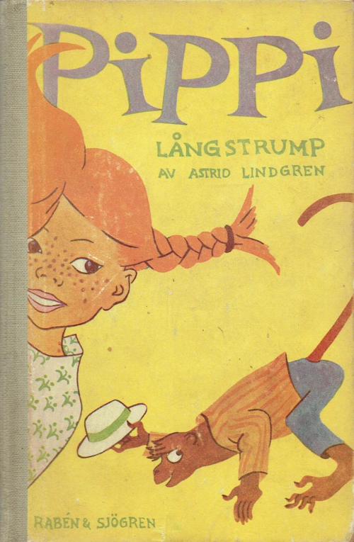 Cover of 'Pippi Långstrump' showing Pippi and her pet monkey
