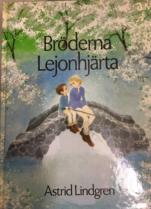 Cover of 'Bröderna Lejonhjärta' showing the two brothers sitting on a bridge over a stream