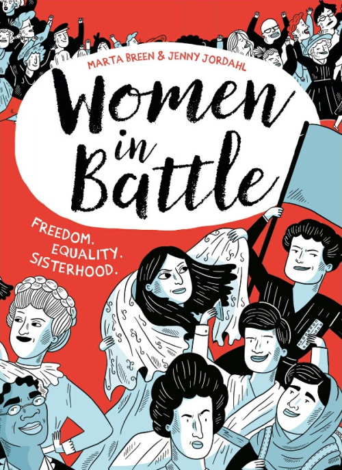 Cover of 'Women in Battle' with illustrations of famous women activists throughout history