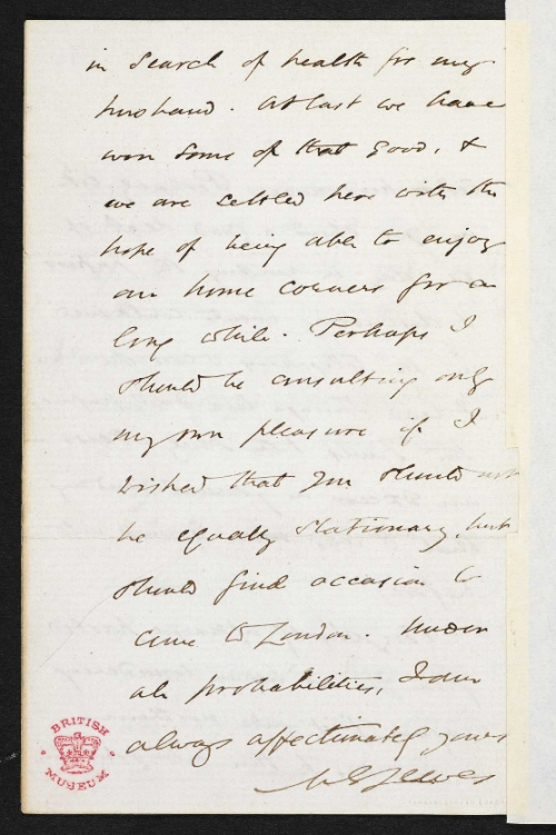 Photograph of Manuscript Letter from George Eliot to Emilia Francis Pattison
