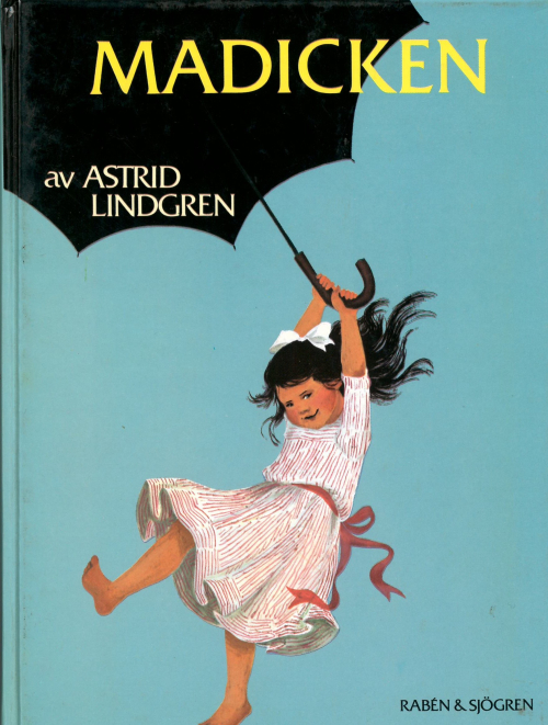 Cover of 'Madicken' showing Madicken using an umbrella as a parachute