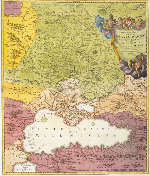 An 18th-century coloured map showing the Crimean peninsula, Black Sea and surrounding lands