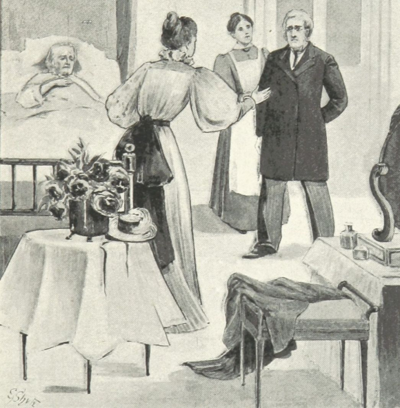 Doctor and nurse at a sick bed