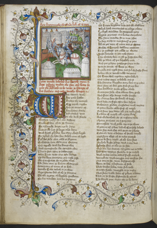 Text page from a medieval manuscript with an elaborate border of foliate and a miniature of knights fighting on horseback