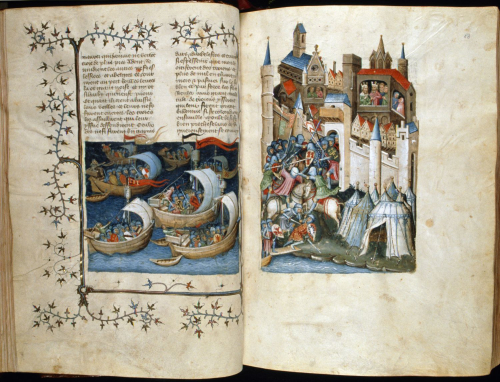 A medieval manuscript with a double-page miniature of ships attacking a walled city.