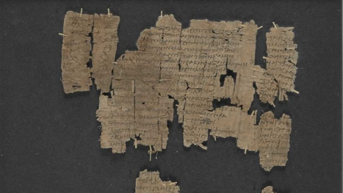 An image of a fragmentary papyrus of a play by Euripides
