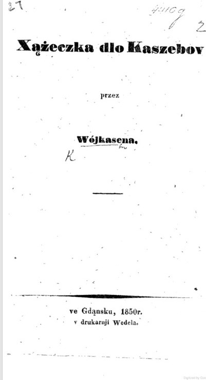 Title page of the first grammar book of the Kashubian language