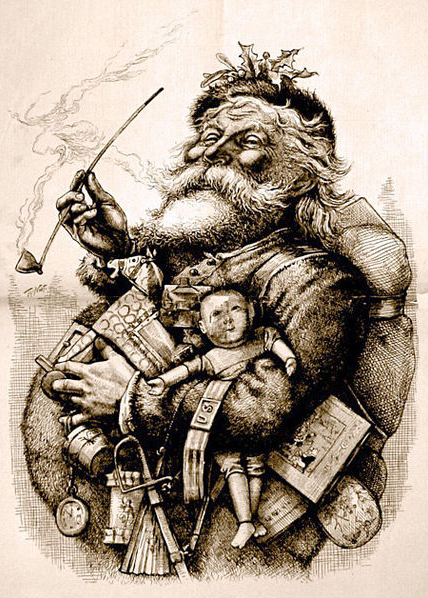 Jolly looking Santa Claus holding lots of presents and a long thin pipe