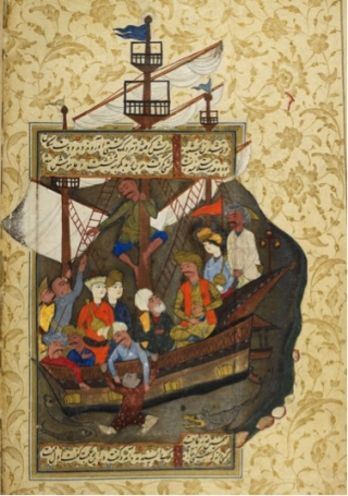 A medieval illumination showing a group of people with varied skin-tones and costumes crammed into a ship. A young boy is being dangled by his arms over the side.