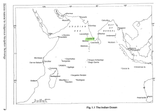 A simplified image of the coastlines around the Indian Ocean. The site of Cochin is highlighted.