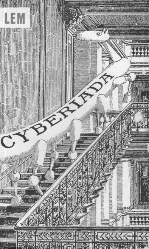 Cover of Cyberiada with an illustration of an eight-legged robotic horse walking up a flight of stairs. The word 'Cyberiada' is written in capitals on its back.
