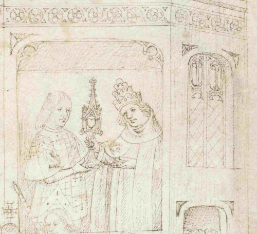 A detail from The Pageants of Richard Beauchamp, Earl of Warwick, showing an illustration of Beauchamp receiving an embellished vessel containing the heart of St George from the Holy Roman Emperor.