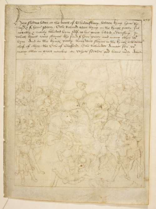 A page from The Pageants of Richard Beauchamp, Earl of Warwick, with an illustration depicting a battle between Beauchamp and Owen Glendower.