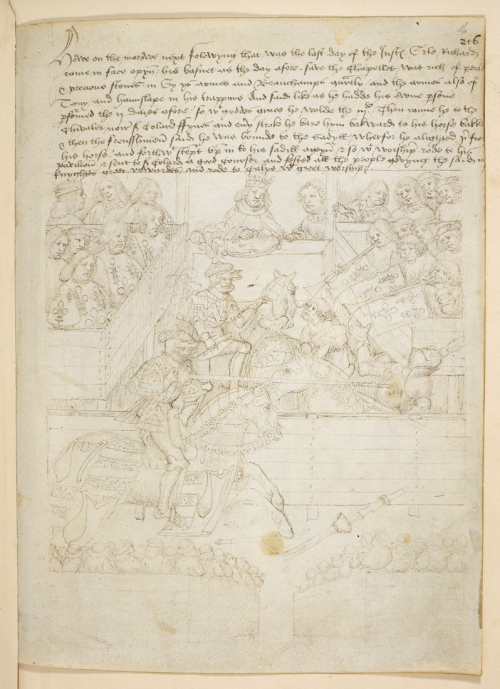 A page from The Pageants of Richard Beauchamp, Earl of Warwick, showing Beauchamp defeating a French knight in a joust.