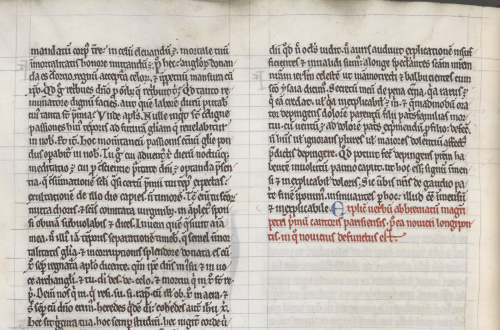 Detail of a page of text in two columns, focusing on the explicit (that is, ending statement) written in red in the right-hand column.