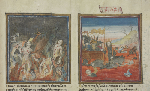 On the left-hand side, demons torture the souls of the dead in Hell. On the right-hand side, the Egyptian Pharaoh and his soldiers drown in the Red Sea.