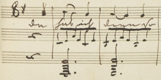 Fragment from a manuscript by Prince Albert showing his notation of treble clefs