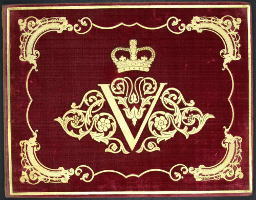 Front cover of a manuscript volume belonging to Queen Victoria
