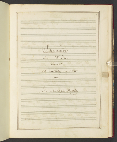 Title page of Felix Mendelssohn's arrangements of his Sieben Lieder ohne Worte