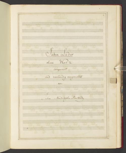 Title page of Felix Mendelssohn's arrangements of his Sieben Lieder ohne Worte