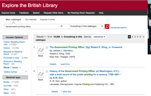 "Screenshot of the British Library catalogue, ""Explore the British Library"", showing how to access the collection of the United States Government Printing Office using the search term ""Government Printing Office"", and related results"