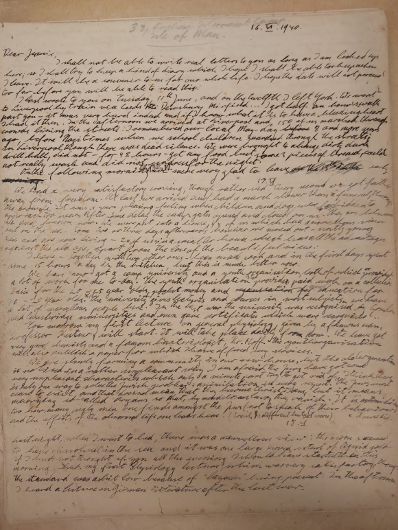 The first page of the diary, noting Konrad's arrest and journey to the Isle of Man