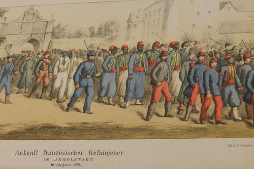 Drawing depicting the arrival of French prisoners