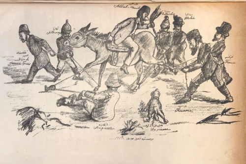 Esquisse of Abdülhamit atop a donkey surrounded by the leaders of various European states