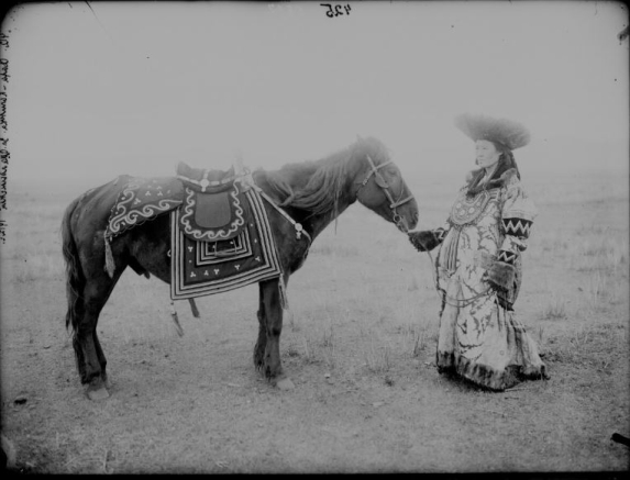 High-ranking woman standing by horse with embroidered saddle cloths