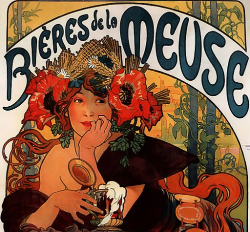 Beer advert by Alfons Mucha featuring a woman drinking beer