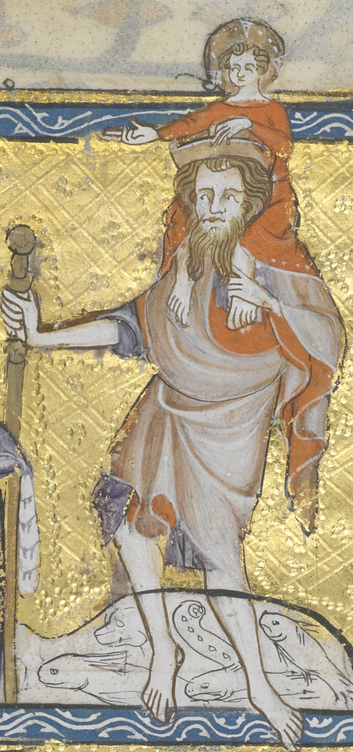 St Christopher in a pink robe and holding a staff in his hand while standing in a river with fish in it, carrying the Christ Child, clad in a red robe, on his shoulders.