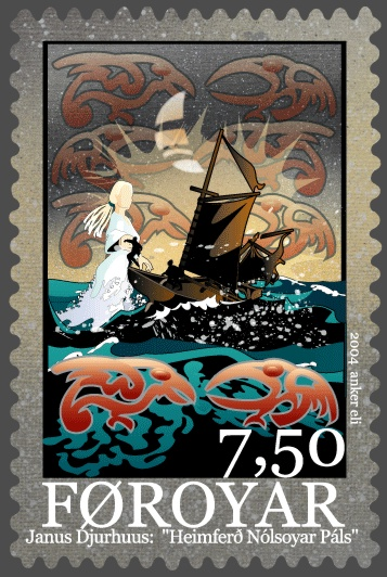 Stamp depicting The Return of Nolsoyar Páll, the Faroese national hero