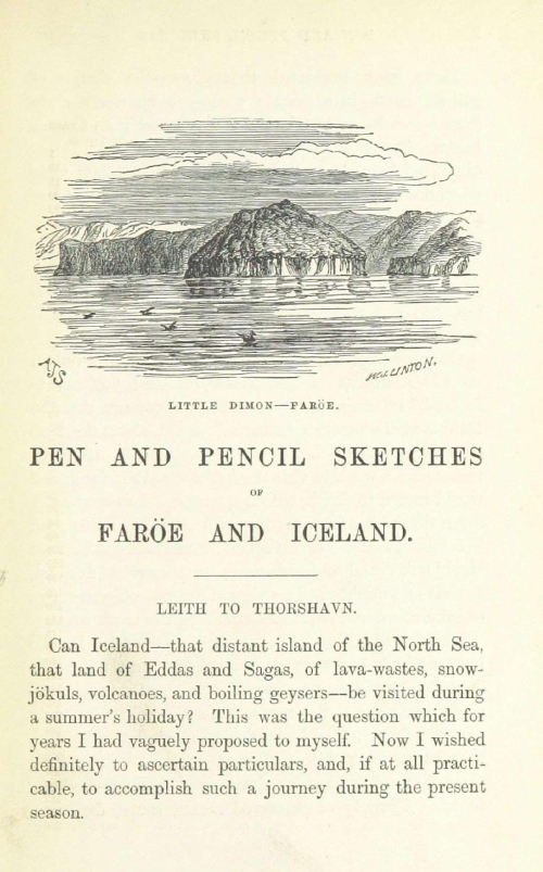 First Page of Andrew James Symington's Pen and Pencil Sketches of Faröe and Iceland