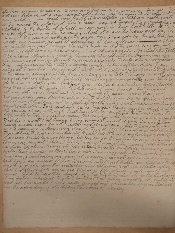The final page of the diary, explaining Konrad's misery and the effect of internment on his life expectancy