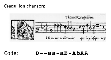 A few notes from a Crequillon chanson, and our encoding of the intervals