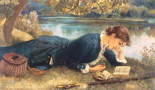 Image of the painting The Compleat Angler by Arthur Hughes (1832-1915). The painting depicts a young woman lying on a meadow on the shore of a river, and dedicated to her readings